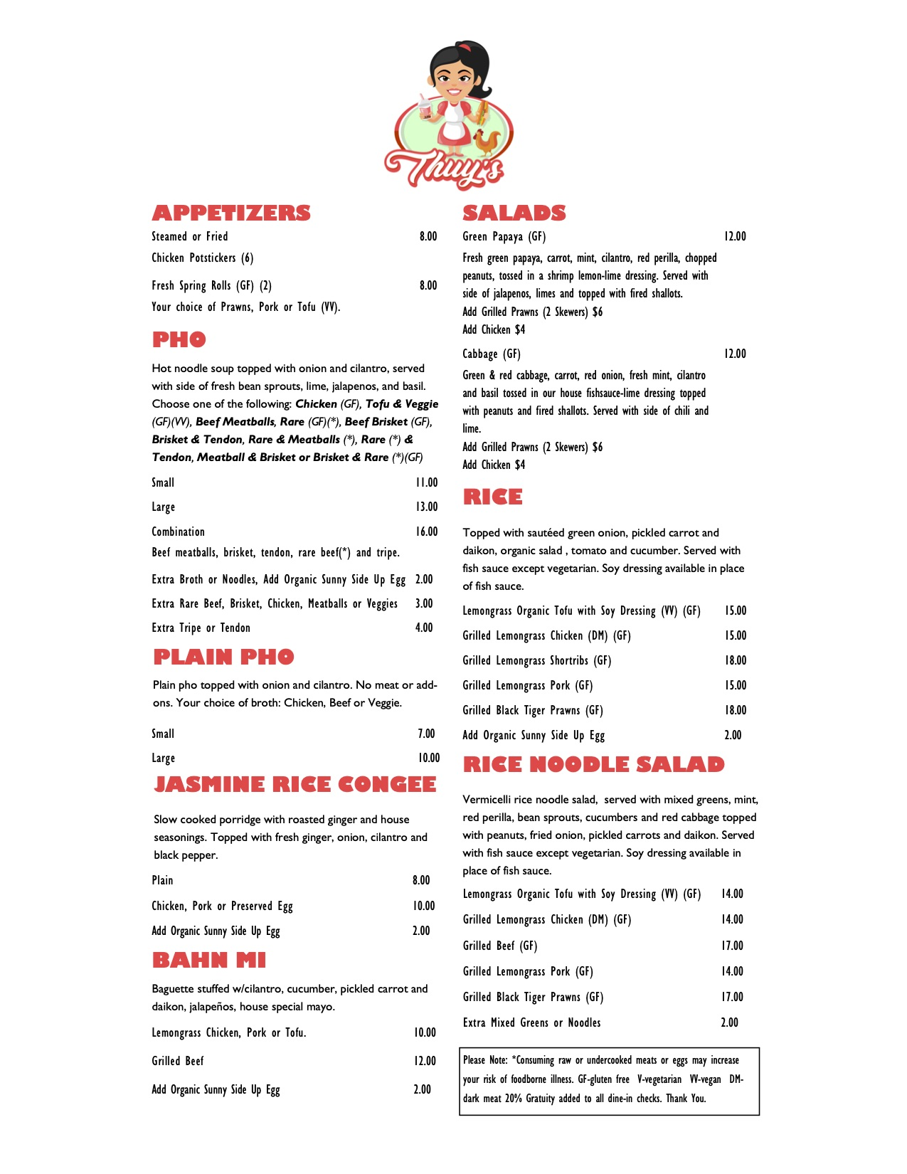 Thuy's Bainbridge Island Menu